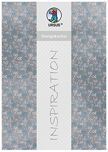 Ursus 62294602F - Designkarton Religion, 200 g/qm, 5 Blatt, DIN A4, blau/Grau