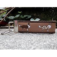 Schlüsselanhänger Schlüsselband Wollfilz dunkelbraun Australian Shepherd braun weiß Geschenk!