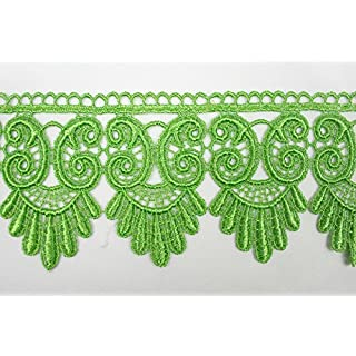 Altotux 3 Bright Lime Green Embroidered Floral Scalloped Venice Lace Trim Victorian Guipure Sewing Supplies By Yard (UB052) by Altotux