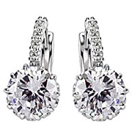White Gold plated earring with crystal and zircon close hoop clasps