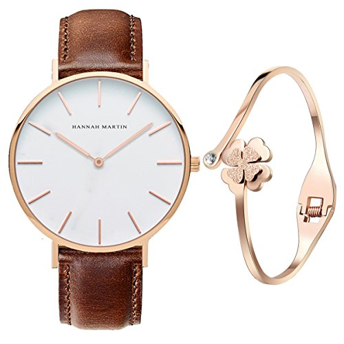 XLORDX Classic Damen Armbanduhr Analog Quarz Braun Leder Armband, Weiß Zifferblatt mit Elegant Rosegold Armband