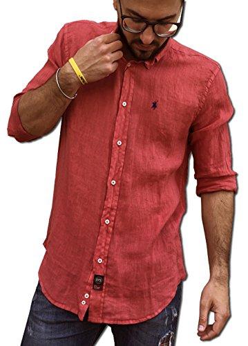 Tipo's camicia lino puro lino made in italy manica lunga primavera/estate 2018 (m, rosso)