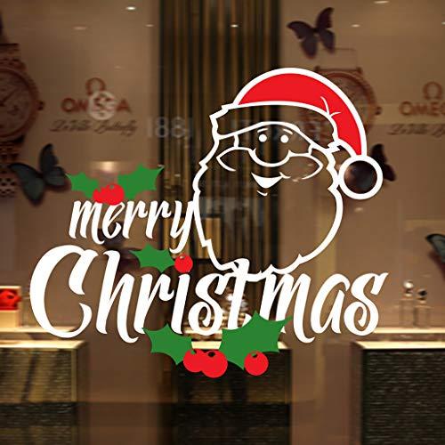 CRITYAufkleber, Weihnachtsmann Wandaufkleber Indoor Fensteraufkleber 3D Spiegel Wandaufkleber Weihnachten Zuhause Dekoration Lieferungen (Weiß)