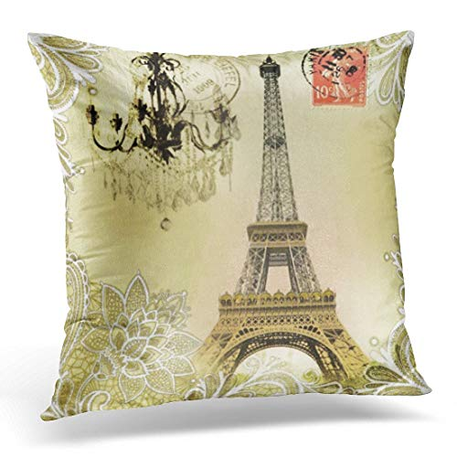 Dekokissen Vintage Französisch Beige Floral Lace Kronleuchter Paris Eiffel Pariser dekorative Kissen Home Decor Square Kissen (Vintage Französische Dekokissen)