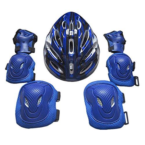 Homyl Set/7pcs Accessoire de Protection Kit de Sécurité Patin à roulettes/Planche à roulettes Équipement de Protection Main, Coude, Genou, Tête - Bleu, 26x20x13cm