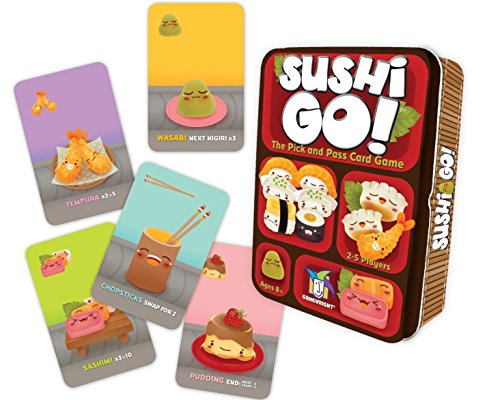 Pass the Sushi! In this fast playing card game, the goal is to grab the ebst combination of sushi dishes as they whizz by. Score points for making the most maki rollsor for collecting a full set of sashimi. Dip your favourite nigiri in wasabi to trip...