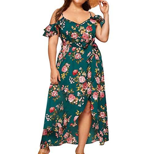 VEMOW Plus Size Elegante Damen Frauen Casual Kurzarm Kalt Schulter Boho Blumendruck Casual Täglichen Party Strand Langes Kleid Schulterfrei Strandkleid (Pink-katze Halloween-kostüm Für Kleinkind)