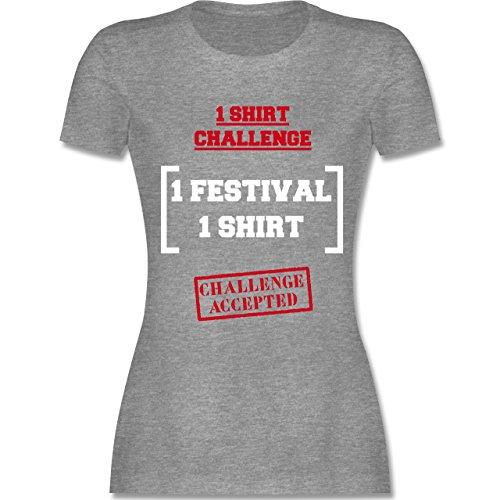 Festival - 1 Shirt Festival Challenge - tailliertes Premium T-Shirt mit Rundhalsausschnitt für Damen Grau Meliert
