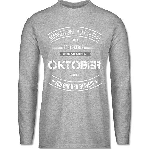Shirtracer Geburtstag - Echte Kerle Werden IM Oktober Geboren - Herren  Langarmshirt Grau Meliert