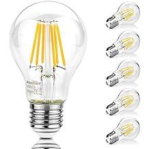 Ascher 5X E27 8W Bombilla Filamento LED, 1000 Lumen, Equivalente 75W, Blanco Cálido