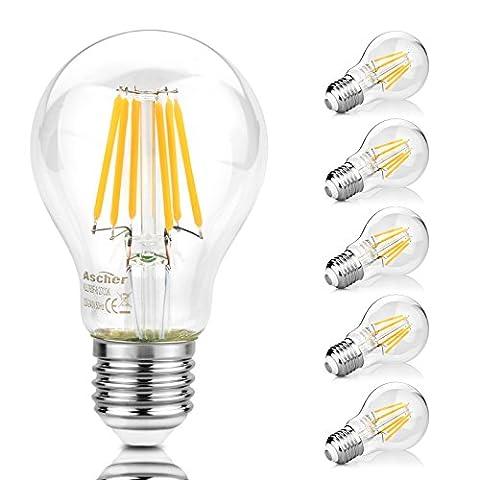 Ascher Lot de 5 E27 8W Ampoule de Filament LED,Equivalent à lampe halogène 75W,1000 lumens, Blanc Chaud 2700K, Angle du faisceau 300°