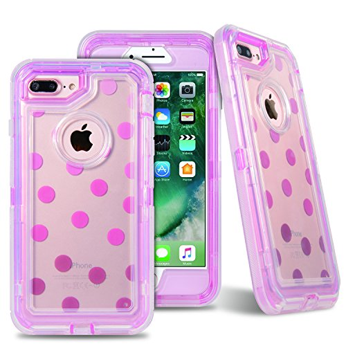 VCOSI iPhone 8Plus Fall, iPhone 7Plus Schutzhülle, Case Clear Tasche mit Muster Design 3in 1Stoßfest Case für iPhone 7Plus/iPhone 8Plus 14cm Heavy Duty Defense Shield Case Wave Point Pink Cell-shield
