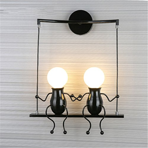 XIAOBIDENG Moderne LED-Wandleuchte kreativen Bild montiert Wandleuchte Wandleuchte Home Armaturen für Kinder- Schlafzimmer Flur Schwarz 2 Led (Bunny-eisen-bett)