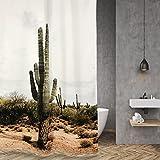 MXueei ZfgG Toiletten-Polyester-Duschvorhang, Wasserdichter Mehltau, gewichteter Rand Rost-Beweis-Kupfer-Öse, Wüsten-Kaktus-Druck -Dauerhaft (Größe : 200×220cm)