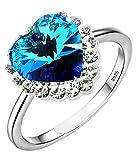 Color Jewels Damen-Ring 'Herz des Ozeans'- Sterling Silber mit Swarovski-Kristall - Einstellbar