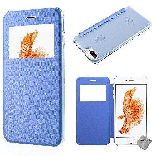 Housse etui coque portefeuille view case pour Apple iPhone 8 Plus + verre trempe - OR Bleu view + verre