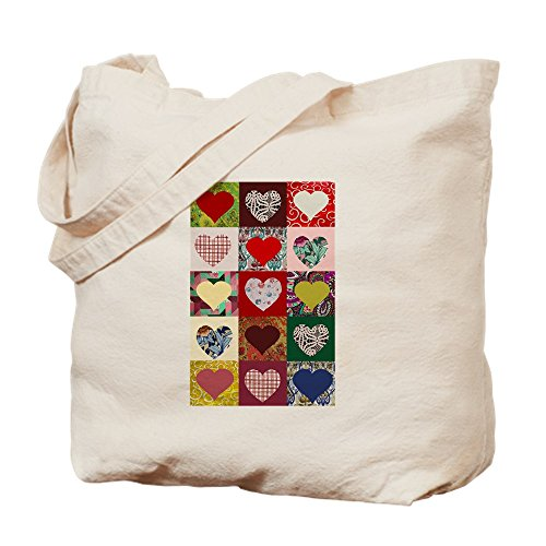 CafePress–Herz Quilt Muster–Leinwand Natur Tasche, Reinigungstuch Einkaufstasche, canvas, khaki, S