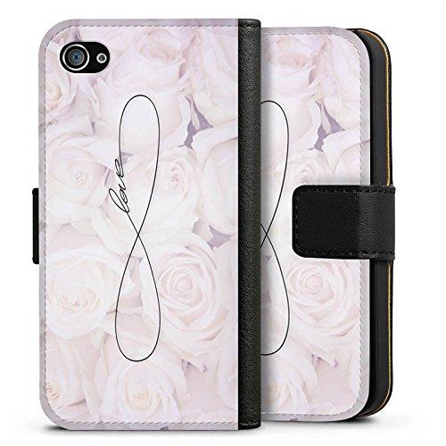 Apple iPhone 6 Tasche Hülle Flip Case Eternal Love Spruch Rosen Liebe Sideflip Tasche schwarz