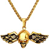 MESE London Mode-Schädel-Halskette 18K Gold Uberzog Weinlese-Flügel-Anhänger - Elegante Geschenkbox