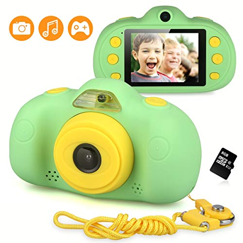 DECOMEN Kinder Kamera Mini Wiederaufladbare Digitalkamera 8MP Kinder Anti-Drop Stoßfestes Design 2,4 Zoll Bildschirm Digitale Camcorder mit Silikon Soft Cover für Party Spielen im Freien