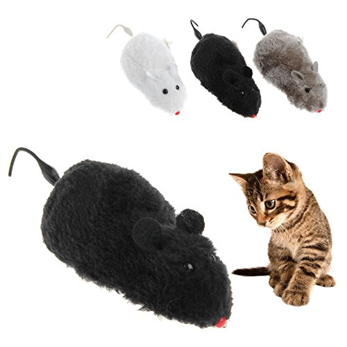 Preisvergleich Produktbild ECMQS Katze Maus Spielzeug, Uhrwerk Wind Lustige Laufende Maus Ratte Bewegen Schwanz Kätzchen Spielzeug Geschenk
