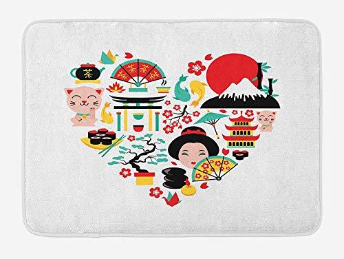 KAKICSA Japanese Bath Mat, The Land of The Rising Sun Culture Bonsai Tree Fuji Mountain Tea Sushi Zen Design, Plush Bathroom Decor Mat with Non Slip Backing, Multicolor,19.6X31.4 inch Fuji Digital Memory
