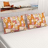 """Divine Casa 100% Smooth Grace Cotton Set Of 2 Pillow Covers, 18"""" X 28"""" For Bed Living Room - Yellow & Red (Abstract)"""