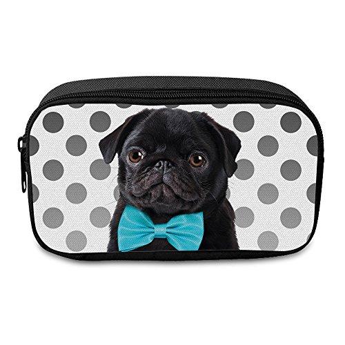 Fringoo® großes Federmäppchen für Jungen und Mädchen aus Segeltuch mit Reißverschluss für die Schule oder als Schmink-Etui L Pug Dog Blue Bow - Front