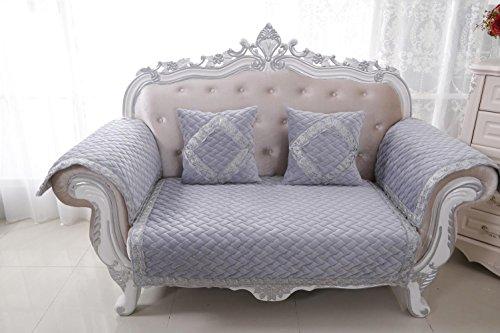 AISHUAIGE HUANZI 2-Sitzer Sofa Cover Loveseat Schonbezug Anti-Rutsch Klassische Couch Cover Settee Protector Grau, 110 * 180cm -
