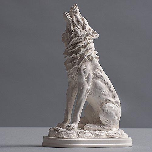 Wolf Skulptur aus hochwertigem Zellan, echte Handarbeit Made in Germany, Büste in weiß, 19cm (Büste Wolf)
