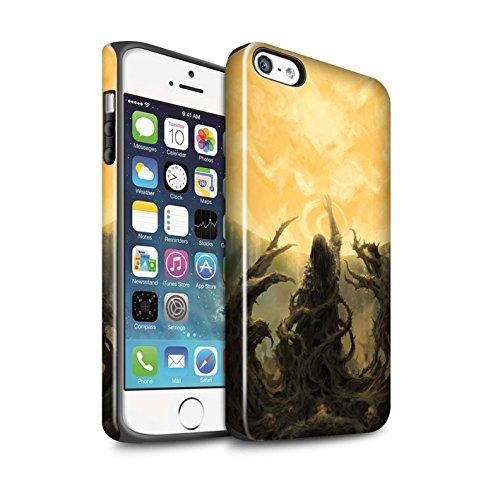 Offiziell Chris Cold Hülle / Glanz Harten Stoßfest Case für Apple iPhone 5/5S / Rotes Band-Engel Muster / Unterwelt Kollektion Sonnengott/Reben