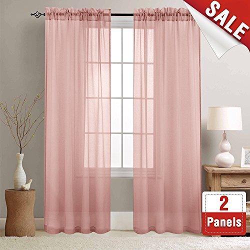 jinchan Leinenoptik Rod Pocket Sheer Voile Fenster Vorhang Panel/Drapes für Schlafzimmer/Wohnzimmer £ ¬ Set von zwei, Polyester, rose, 55