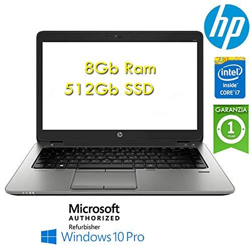 """Notebook HP EliteBook 840 G1 Core i7-4600U 8Gb 512Gb SSD 14"""" Windows 10 Professional con Licenza Nuova Originale Simpaticotech MAR Microsoft Authorized Refurbisher (Ricondizionato Certificato)"""