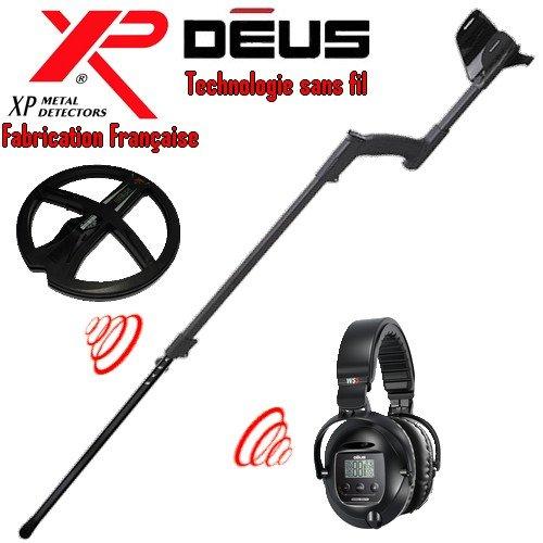 Xp Metal Detectors - Détecteur De Métaux Deus Light2 - Technologie Sans Fil - Casque Sans Fil Ws5 - Disque Dd 22 Cm Avec Protège Disque - Canne Télescopique En S