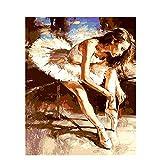 DAMENGXIANG DIY Handgemalte Zahlen Ölgemälde Kits Ballett Mädchen Moderne Abstrakte Kunst Bilder Für Wohnzimmer Wohnkultur 40 × 50 cm Kein Rahmen