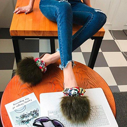 Pantoufles Femme Fille Satin Moelleux Fausse fourrure, QinMM Mode Dame Flip flop Tongs Massion Sandale Chaussures Plat Vert