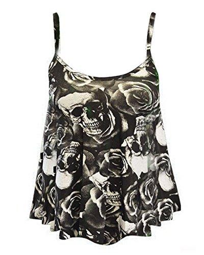 Style Divaa - Canotta - Stampa animalier - Senza maniche  -  donna Black-Skull Roses