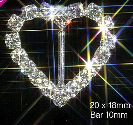 Gürtelschnalle, mit vertikalem Stäbchen, Herzform, Strassstein-Besatz, 10 Stück