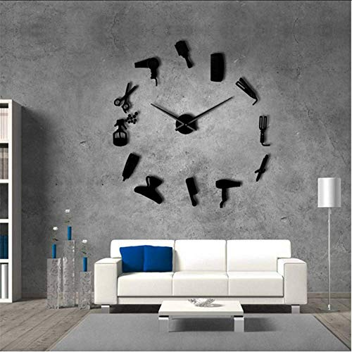 Hyllbb DIY Barber Shop Riesen Wanduhr Mit Spiegeleffekt Barber Toolkits Dekorative Rahmenlose Uhr Friseur Barber Wandkunst, 37 Zoll -