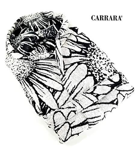 Carrara Bademantel aus Frottee mit Kapuze Daisy col. 001 Black/White Größe M