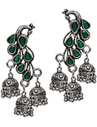 [Sponsored]Peora Traditional Antique Oxidised Silver Plated Black Peacock Jhumka Jhumki Earrings For Women Girls