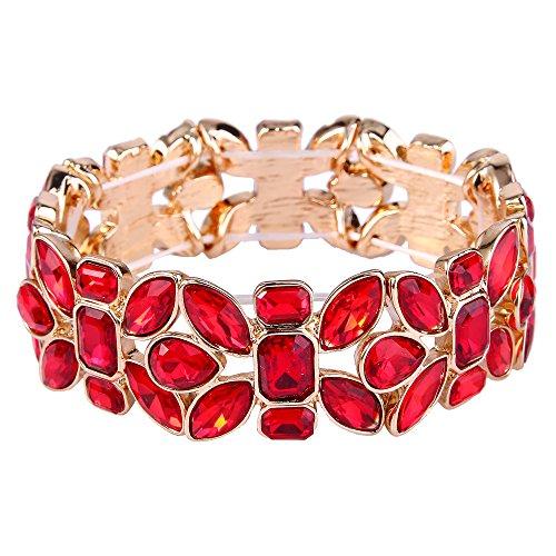 TENYE Damen oesterreichische Kristall Blatt Tropfen Hochzeit elastisch Stretch Armband rot Gold-Ton