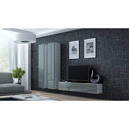 JUSThome Vigo IX Wohnwand Anbauwand Schrankwand Weiß Matt | Grau Hochglanz