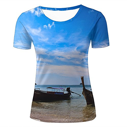 qianyishop Mens Womens Casual Design 3D Printed Blue Sky, White Clouds and Boats Graphic Short Sleeve Couple T-Shirts Top Tee XXL (T-shirt Ringer White Short Sleeve)