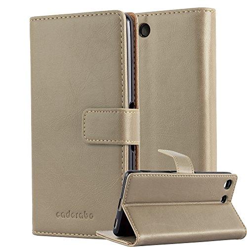 Cadorabo Hülle für Sony Xperia M5 - Hülle in Cappucino BRAUN – Handyhülle im Luxury Design mit Kartenfach und Standfunktion - Case Cover Schutzhülle Etui Tasche Book