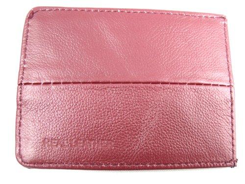 Robusta custodia in pelle per abbonamento mezzi e autobus, carta d'identità, carta Oyster, carta di credito, unisex, in vari colori rosso Dark Red