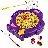 Juego de Pesca de Mesa Juguete Musical Educativo Magnetic Peces Rotativos Coloridos Juguetes Eléctricos para Niños Niñas 3 4 5 Años