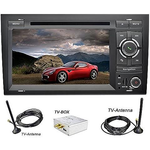 YINUO 7 Pulgada Android 5.1.1 Lollipop Quad Core 2Din HD 1024*600 Autoradio Reproductor De DVD GPS Navigation Para Audi A4 ( 2002-2008) Soporte DAB / Control Del Volante Bluetooth / AV-IN / 1080p Incluida