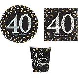 ILS I LOVE SHOPPING Kit Festa Coordinato Tavola Addobbi Party Set Compleanno con 8 Piatti 23cm, 8 Bicchieri e 20 tovaglioli (