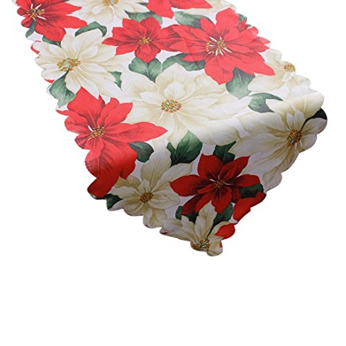 Malloom® Dekorative Weihnachten Weihnachtsmann Tapisserie Poinsettia Tischläufer 14x71 Zoll (D)